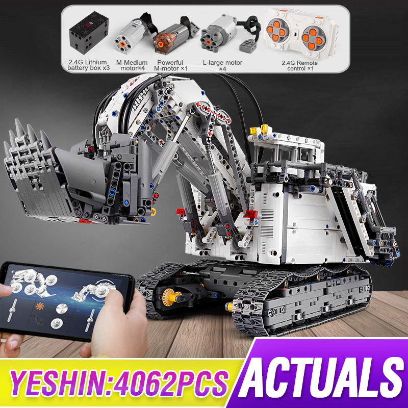 Technic Series Liebherrs R9800 Motor Power Mobile Crane Mk II Car Model Building Blocks Bricks Compatible Lepining 42100 Toys