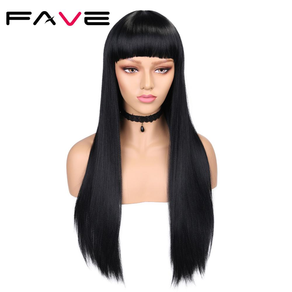 FAVE Yaki Straight Long Synthetic Wigs With Bangs Natural Black 24 Inch Middle Part Heat Resistant Fiber For Black Women