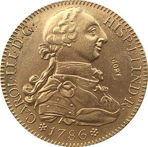 24 K позолоченный 1786 ИСПАНИЯ 8 Escudos-Carlos III копия монет