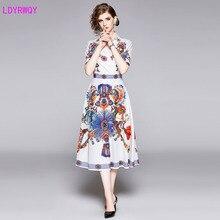 2019 European and American style new womens temperament V-neck fashion print Slim wild long dress