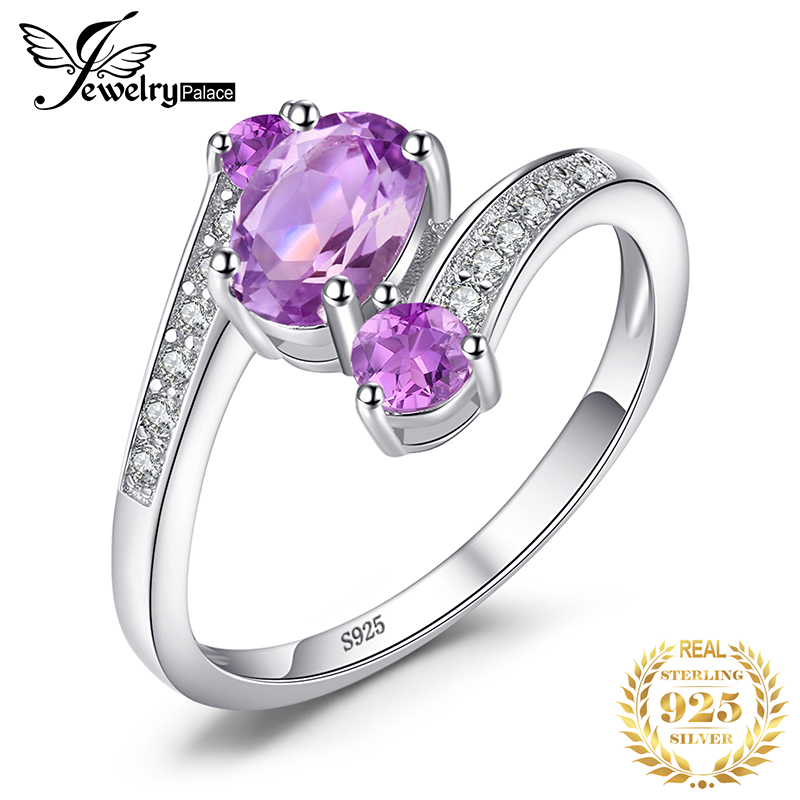 JewelryPalace 3 Stones Genuine Amethyst Ring 925 Sterling Silver Rings For Women Engagement Ring Silver 925 Gemstones Jewelry