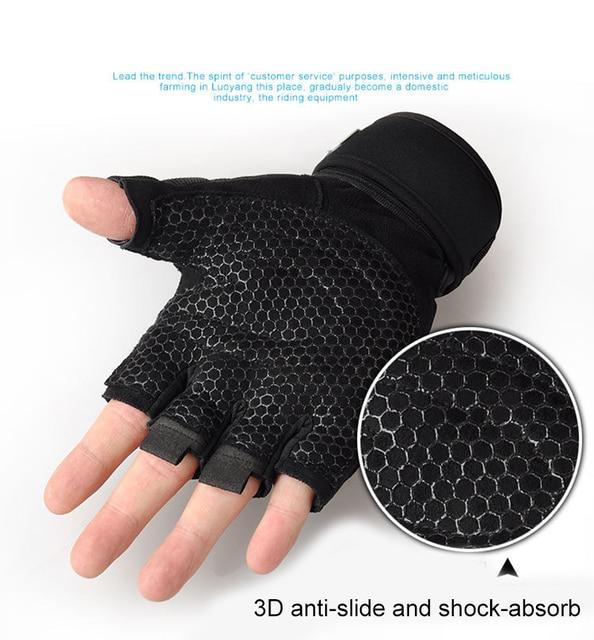 Men Fitness Heavyweight Training Gloves Bodybuilding Half Finger Gloves Non-Slip Extended Wrist Support Weightlifting Sports 4