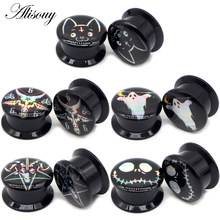 Alisouy 2pc Black Acrylic Screw Punk Ear Gauges Plugs Ear Expanders Double Flared Ear Stretcher Ear Tunnel Piercing Body Jewelry(China)
