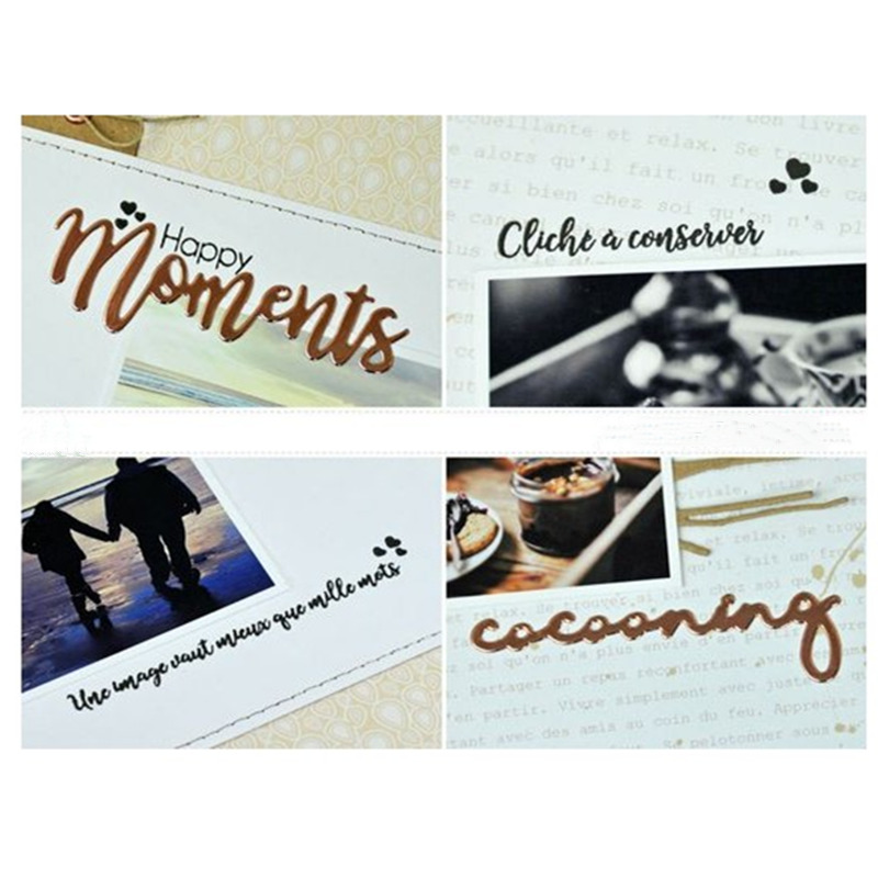 French Words and Phrases Metal Cutting Dies Scrapbooking Album Paper DIY Card decoration Craft Embossing Die Cuts 2019 New in Cutting Dies from Home Garden