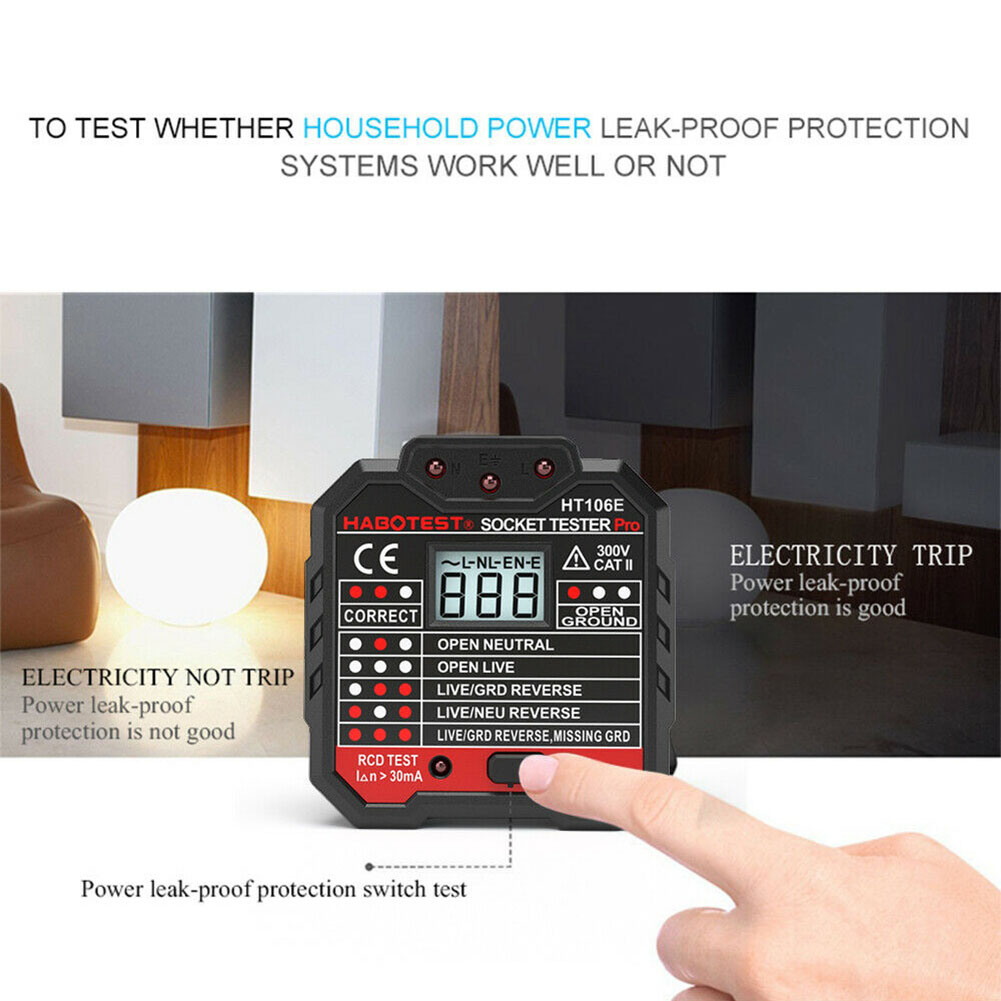 Portable Socket Tester Circuit Polarity Detector Tools Wall Finder Mini Voltage Digital Electrical LCD Display Ground Zero Line