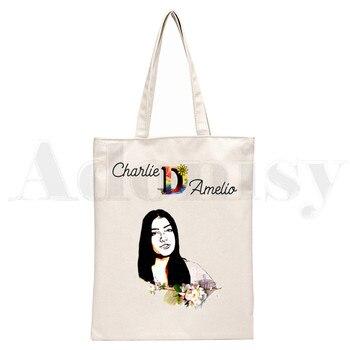 Ice Coffee Splatter Charli DAmelio Ulzzang Print Reusable Shopping Women Canvas Tote Bags Eco Shopper Shoulder Bags 18