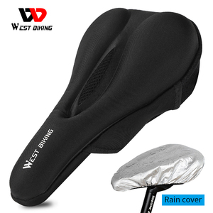 WEST BIKING Breathable Bicycle Saddle Cover Bike Seat Cushion Gel Soft Pad Cushion Cover With Rain Cover Cycling Seat Accessorie