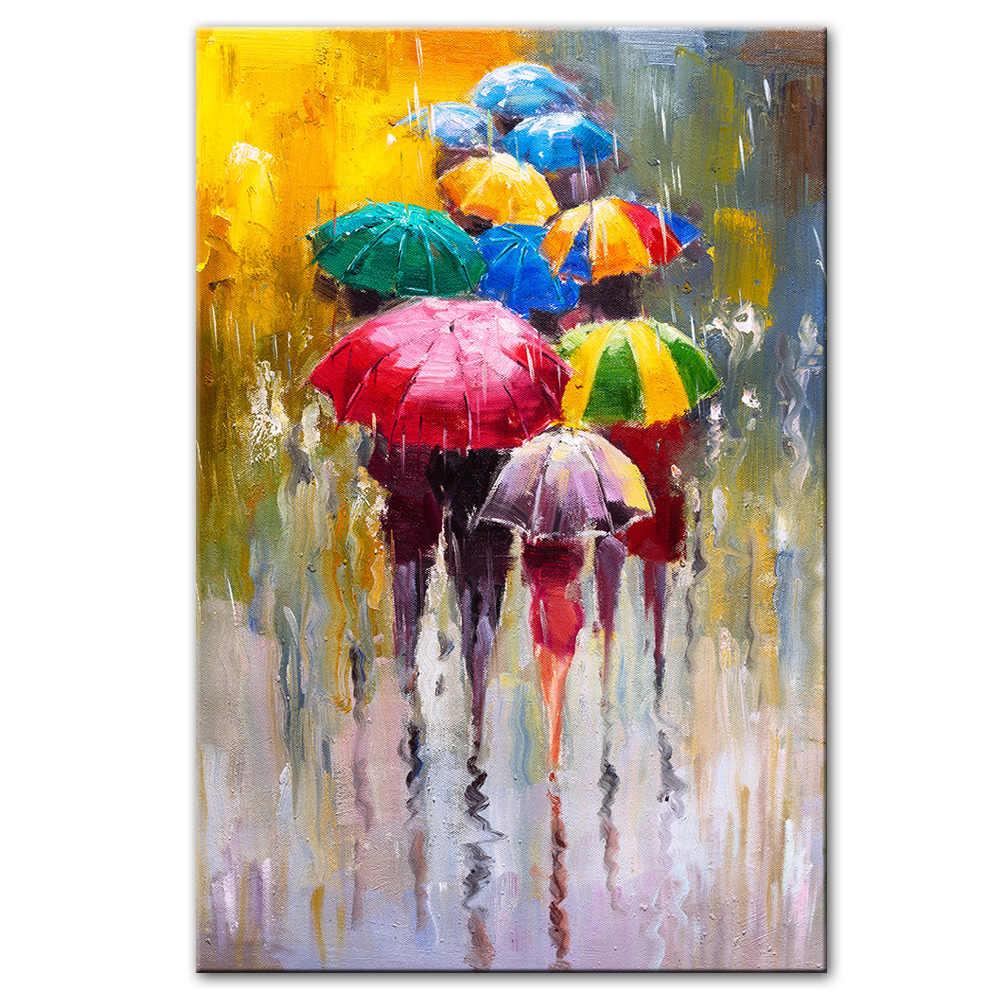 لوحة بألوان زيتية مجردة طباعة على قماش الفن يطبع فتاة عقد مظلة صور فنية للجدران لوحة على الحائط لتزيين المنزل