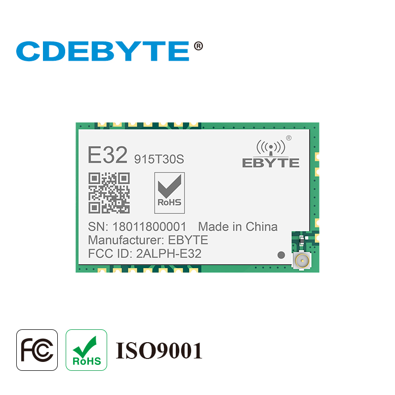 Ebyte E32-915T30S SX1276 LoRa Module SMD 915MHz UART 30dBm 1W Long Range 3.3V TTL IPEX Stamp Hole Interface Antenna Wireless RF