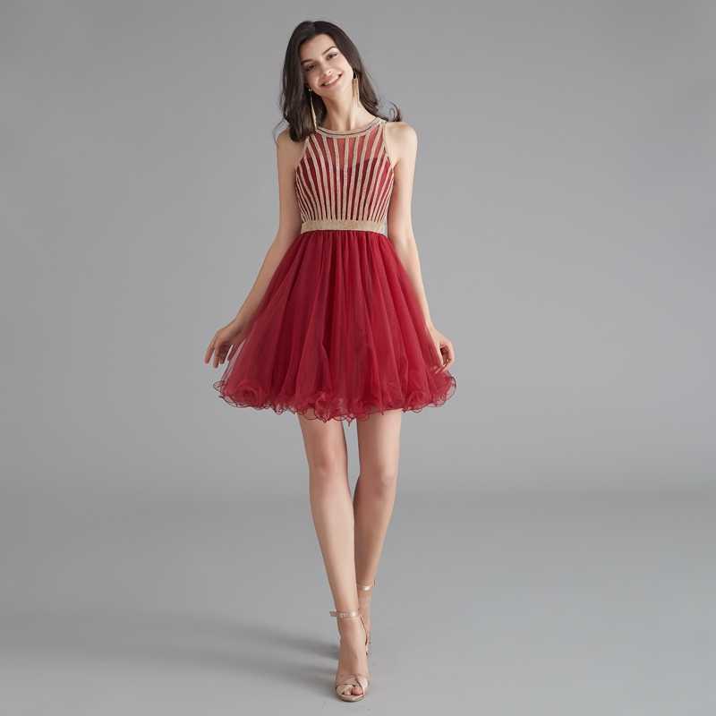 אור סגול קצר שמלות נשף 2019 אדום O-צוואר קריסטל שרוולים מיני אורך קצר פורמליות מסיבת קוקטייל שמלות vestido דה גאלה