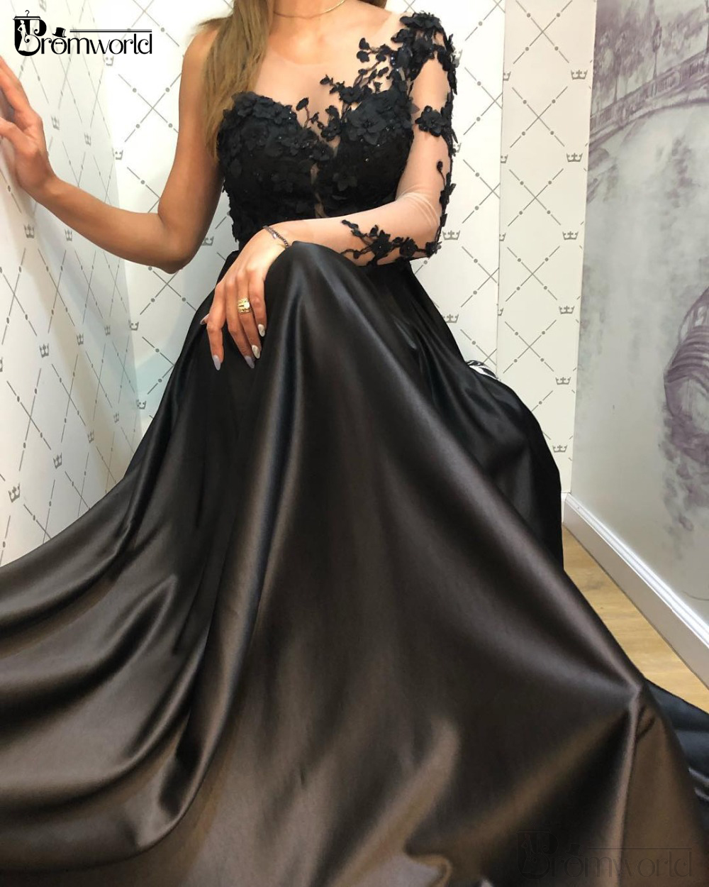 One Shoulder Long Sleeve Black Evening Gowns for Women Robe De Soiree Flowers A-Line Satin Elegant Formal Dresses Plus Size