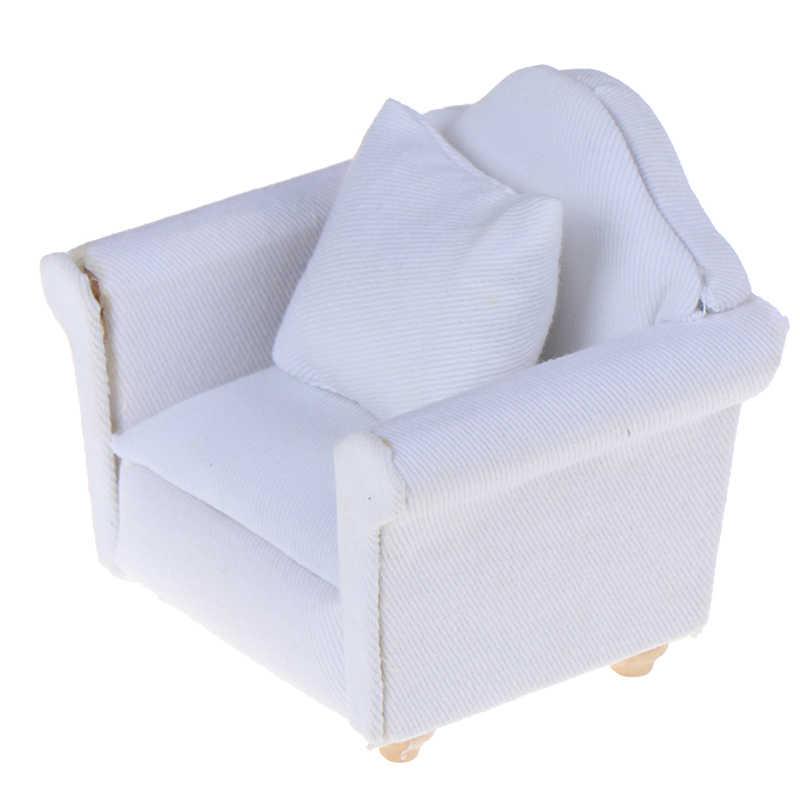 1/12 בובות לבן ספה עם חזרה כרית מיני ספה כיסא ריהוט דגם צעצועי בובת בית קישוט אביזרי מיניאטורי