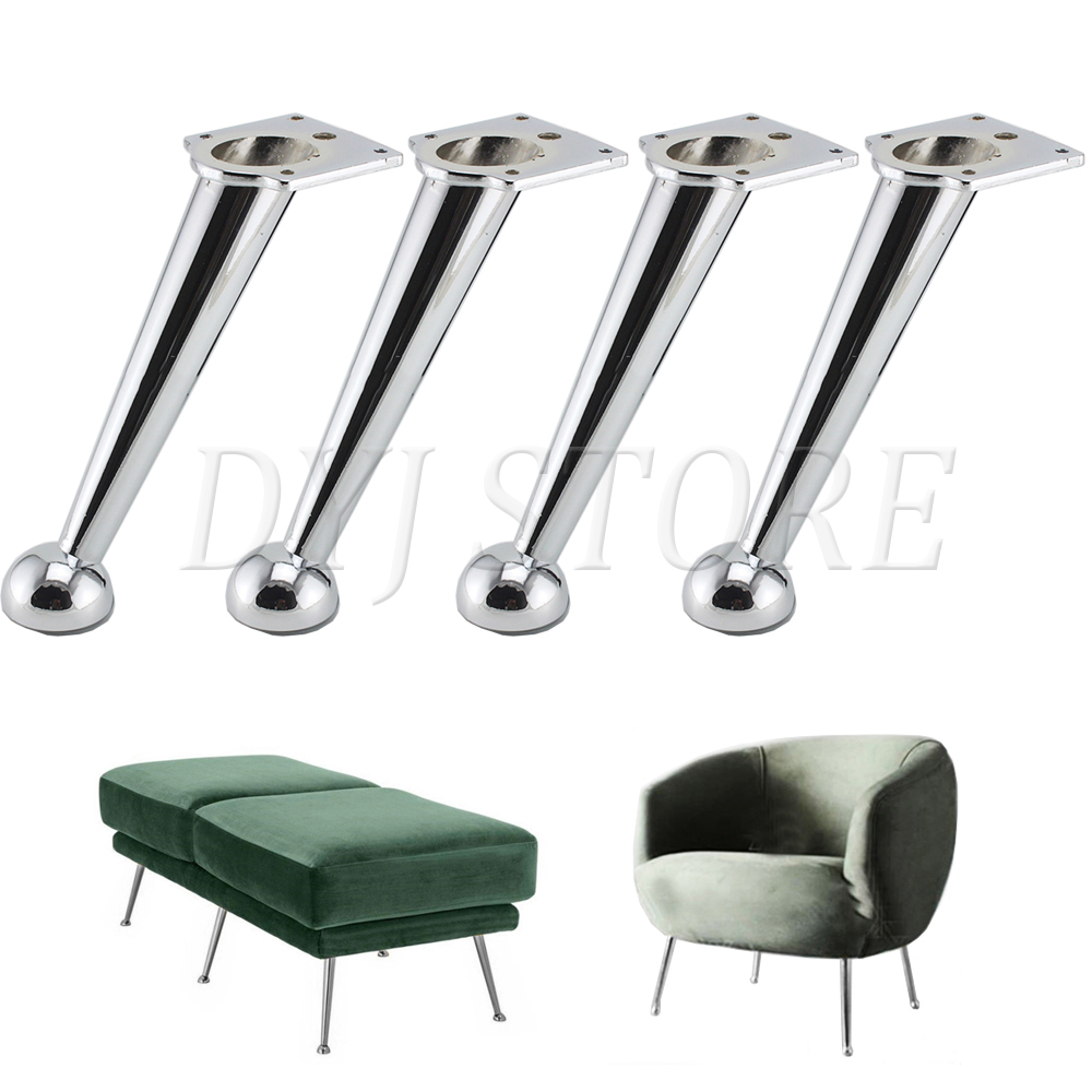 4 Pcs Oblique Metal Furniture Legs Heavy Duty As Replacement for Sofa Couch Cabinet TV Stand Legs Gold Iron Furniture Feet