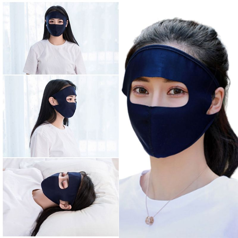 Coslony Unisex Summer Ice Silk Thin Sunscreen Full Face Mask UV Protection Breathable Cycling Washable Earloop Respirator