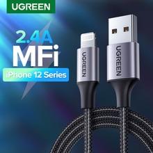 UGREEN MFi USB кабель для iPhone 12 Mini 2.4A кабель быстрой зарядки Lightning для iPhone 12 Pro Max X XR 11 8 7 кабель зарядного устройства для телефона