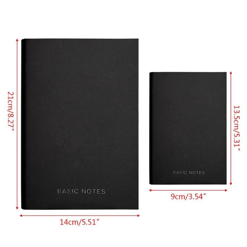 Ofis ve Okul Malzemeleri'ten Planlayıcılar'de Yaratıcı Dizüstü Siyah deri kılıf Not Defteri Günlüğü Planlayıcısı Iş Tarzı Boş Hat Sayfaları Okul Ofis Malzemeleri 19QA title=