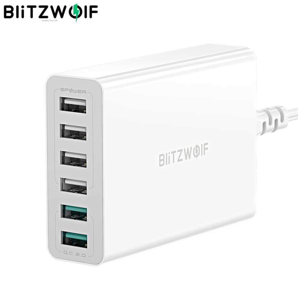 BlitzWolf 60W Dual QC3.0 6 Port Desktop USB Smart Charger Adapter with 1.5m Cable for iPhone 11 Pro / XR  for Samsung for Huawei|Mobile Phone Chargers|   - AliExpress