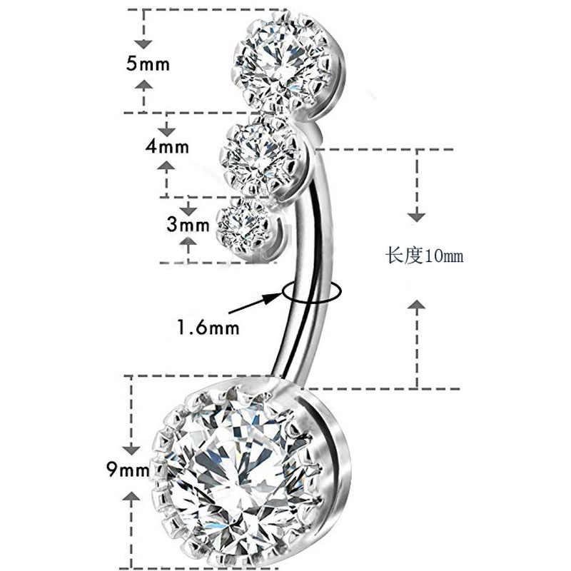 1pc סקסי מתנדנד טבור טבור טבעות בטן פירסינג קריסטל כירורגי פלדה אישה גוף תכשיטי משקולת נשים אביזרי XY