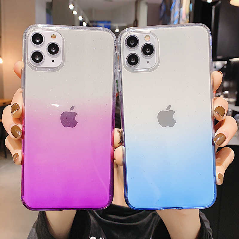 Glitter Gradient Transparent Case For iPhone 11 Pro Max X XR XS Max 8 7 6 6S Plus Case Soft TPU clear Full Protection Back Cover
