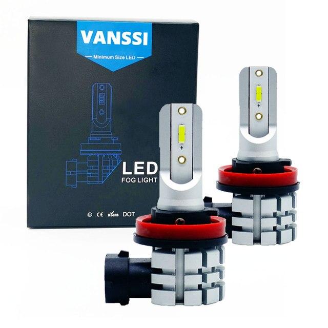 VANSSI 2Pcs H8 H11 LED ערפל נורות H16 H10 9145 HB3 9005 HB4 9006 LED ערפל מנורת סופר בהיר 4000lm CSP שבבים, לבן 6000K