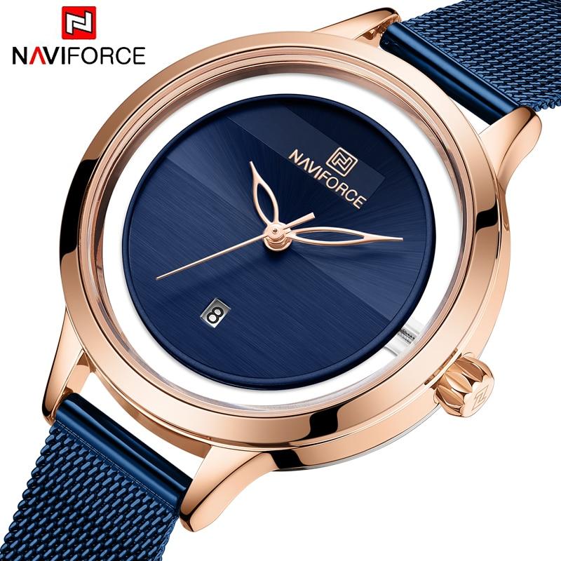 NAVIFORCE Women Dress Watches Luxury Brand Ladies Quartz Watch Stainless Steel Mesh Band Casual Bracelet Wristwatch Reloj Mujer