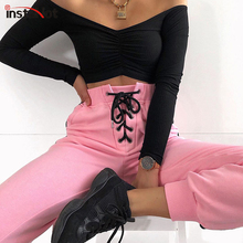 InstaHot Pink Drawstring High Waist Cotton Carrot Pant Women Autumn Spring Tapered Casual Loose Cargo Jogger Stripe Side Trouser