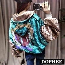 Women Oversize Jacket New Autumn Winter Retro Back Sequined Beaded Lettering Vel