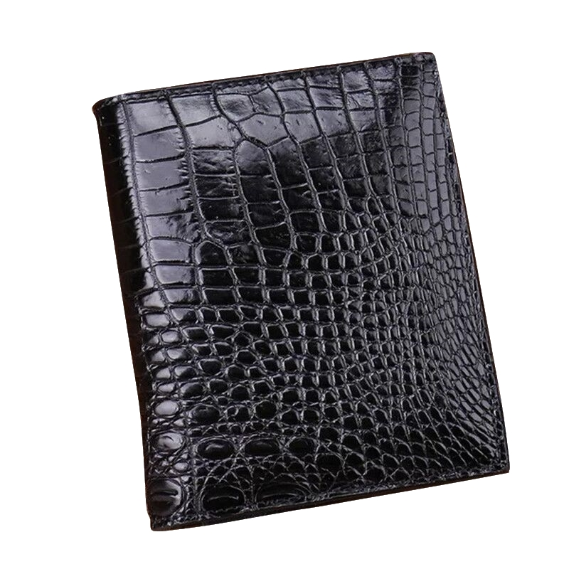 Authentic Exotic Crocodile Leather Men's Short Bifold Wallet Photo Holder Genuine Alligator Belly Skin Male Small Card Purse