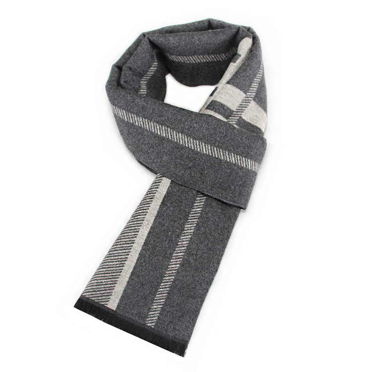 New Style Scarf Men's Winter Warm Thick Faux Cashmere Scarf Young People Light Color Stripes Scarf Manufacturers Currently Avail