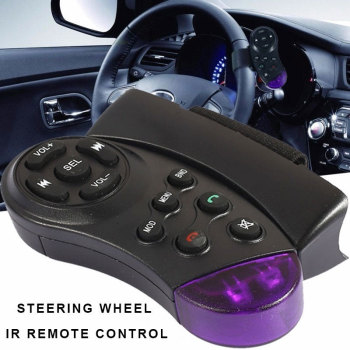 Vehemo Steering Wheel Wireless Remote Purple Black Car Steering Wheel Remote Control Mp5 Player Multimedia Car Remote Control image