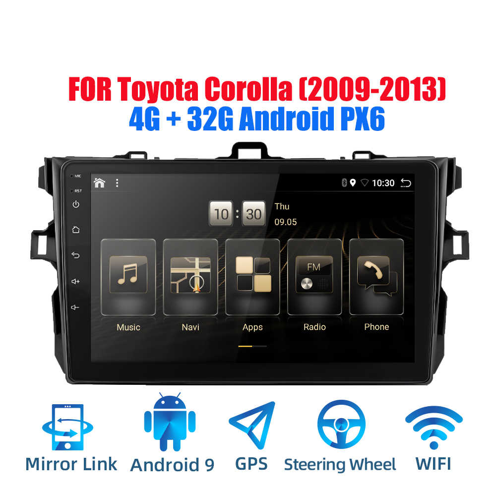 2DIN Android 9.0 Ouad Core PX6 Radio Stereo Cho Toyota Corolla 2009-2013 GPS NAVI Âm Thanh Video wifi BT HDMI DAB +