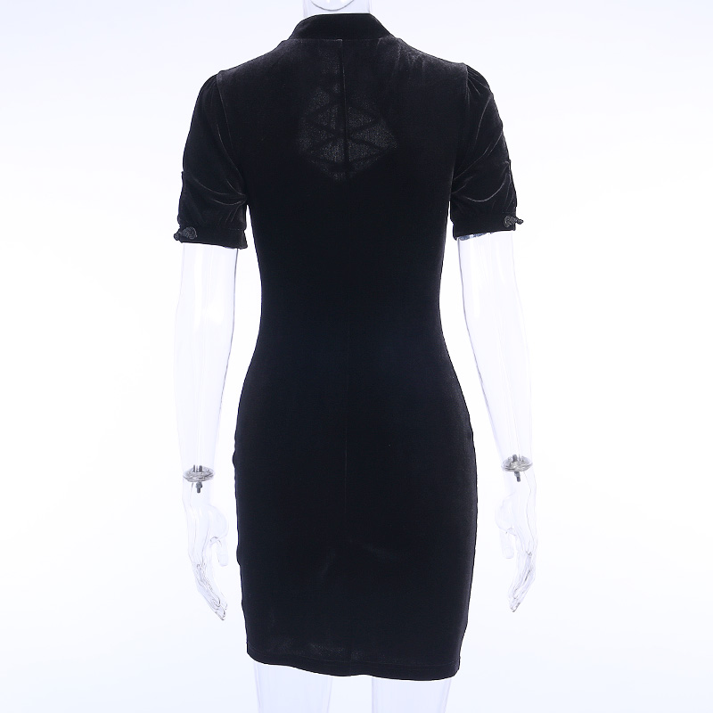 H95f7b8e1de5244449d71300dd0de2a4cG - InsGoth Retro Bandage Black Short Sleeve Mini Dress Women Gothic Streetwear Female Dress Elegent Vintage Party Dress