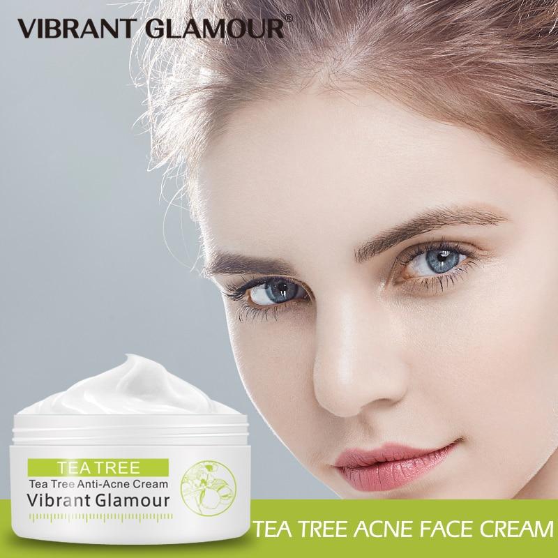 VIBRANT GLAMOUR Tea Tree Acne Face Cream Treatment Acne Scar Shrink Pores Oil Control Facial Skin Care Whitening Moisturizing