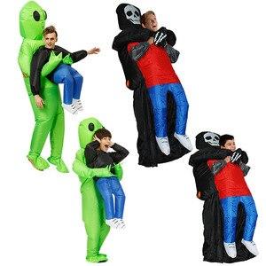 Image 2 - Adulto adulto verde alienígena traje anime cosplay grim reaper fantasia vestido de halloween alienígena fantasma traje para o miúdo