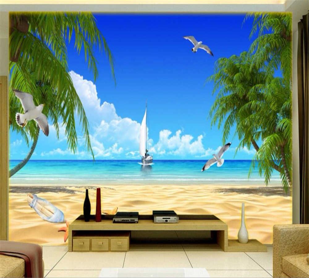 Beibehang Large Custom Aesthetic Beach Sea View Living Room Tv Bedroom Background Home Decoration Tv Room Tv Living Roomsview Live Tv Aliexpress