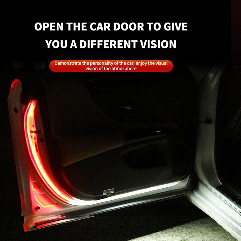 1 pçs universal porta do carro luzes led abertura da porta aviso luzes led anti colisão traseira duas cores luz de segurança