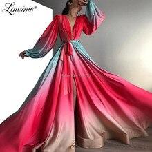 Вечернее платье знаменитости с длинным рукавом, арабское выпускное платье с глубоким v образным вырезом, Новое поступление 2020