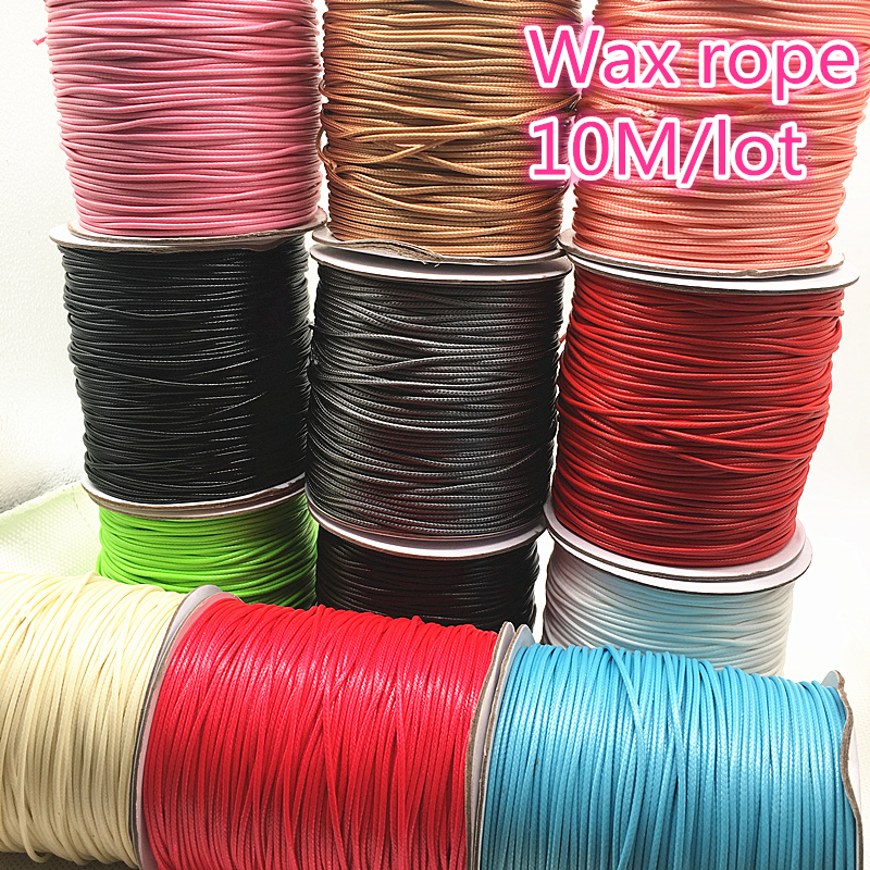 10M Dia 1.0 /1.5mm Waxed Cotton Cord Waxed Thread Cord String Strap Necklace Rope Bead For Jewelry Making DIY Bracelet