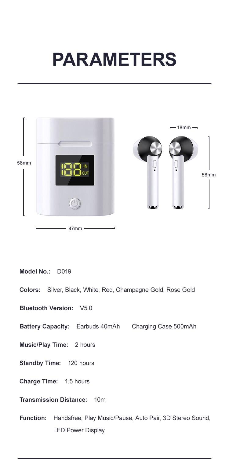 D019 V5.0 Bluetooth Earphone HD Stereo Wireless Headphones Sport Bass Headset