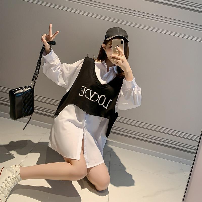 Fashion Loose Shirt 2019 Autumn Korean-style New Style Western Style Versatile Vest + Long Shirt Two-Piece Set F7712
