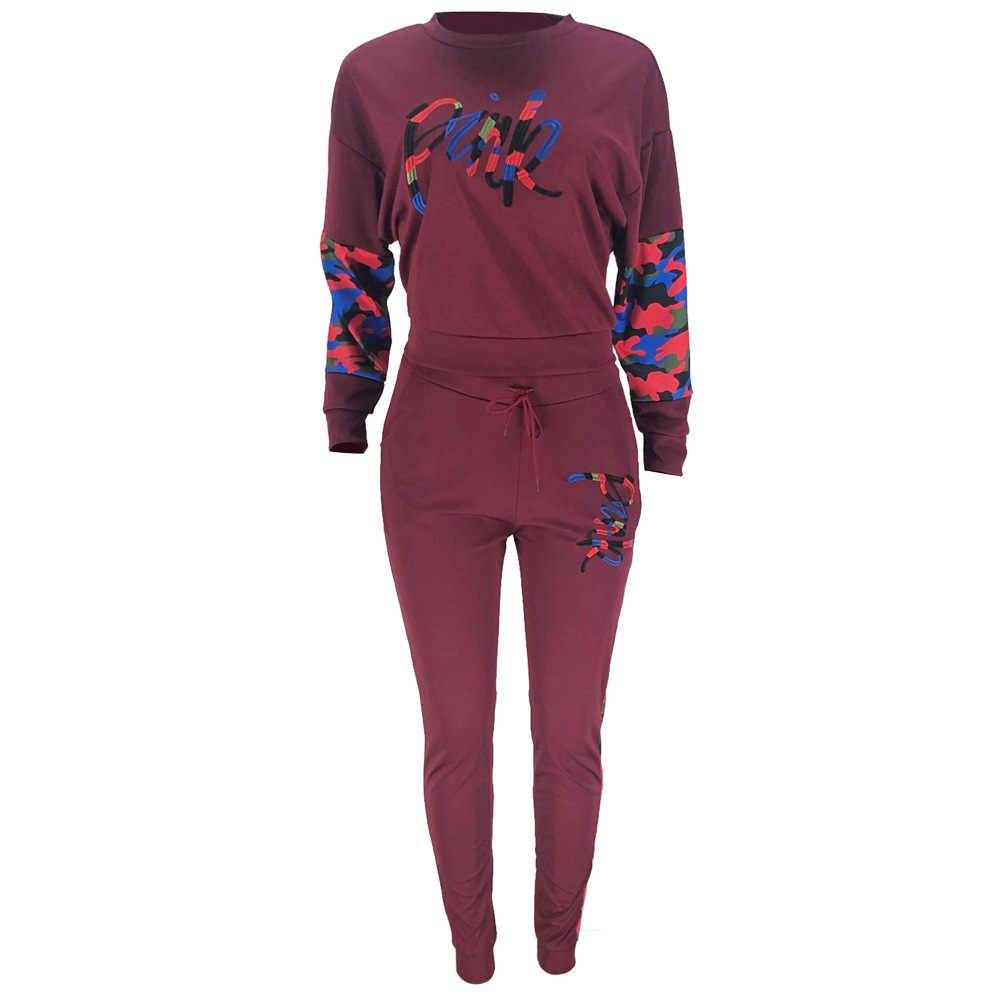 Winter Splice rosa Zwei Stück Set Trainingsanzug Frauen Plus Größe Volle Hülse Sweatshirt casual Hosen Anzug Outfits sweatsuit ropa mujer