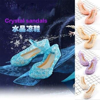 2020 Girls Kids Summer Crystal Sandals Frozen Princess Jelly High-Heeled Shoes Princess Frozen Elsa Cosplay Party Dance Shoes