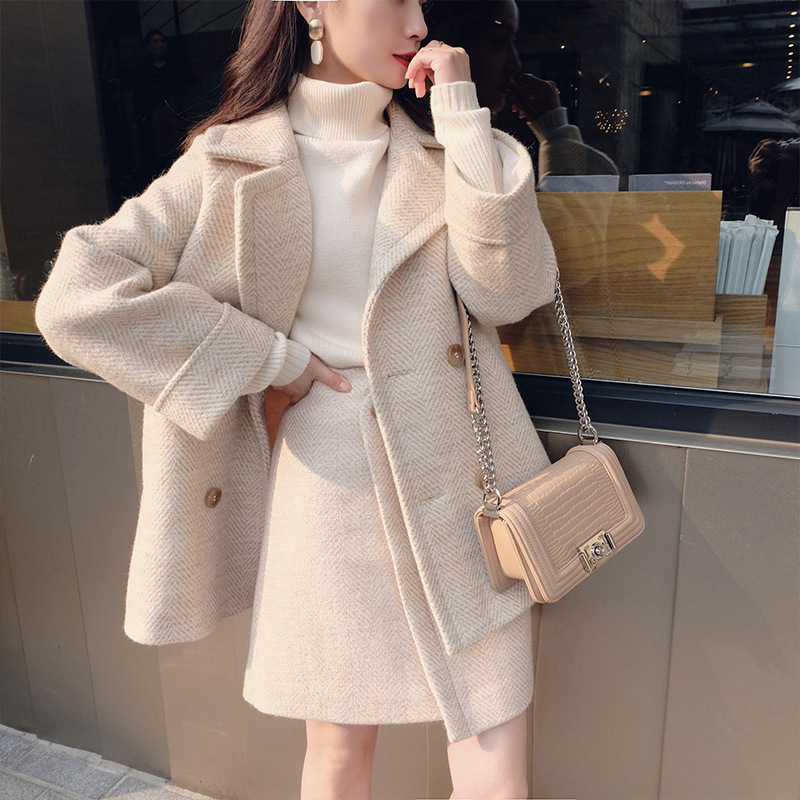 2019 Blends Woolens Overcoat Wool Skirt Two Pieces set Female Autumn Winter Trench Coats Women Wool Coats Long Tops skirt set in Wool amp Blends from Women 39 s Clothing