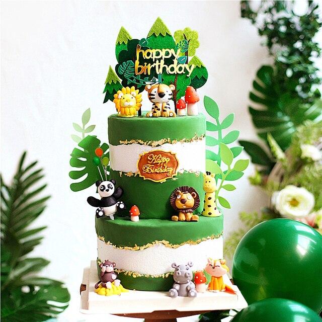 Zwierzęta lew jeleń czuł żyrafa sowa drzewo ozdoba na wierzch tortu na dekoracja urodzinowa naczynia do pieczenia Baby Shower dekoracja deserów