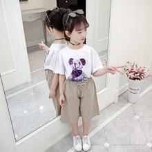 Children's White Top T-shirt for Girls Modis Cartoon Bear Cotton T Shirt Toddler Summer Clothes for Girls 6 8 10 12 14 Years Old юбка modis modis mo044ewwhd82