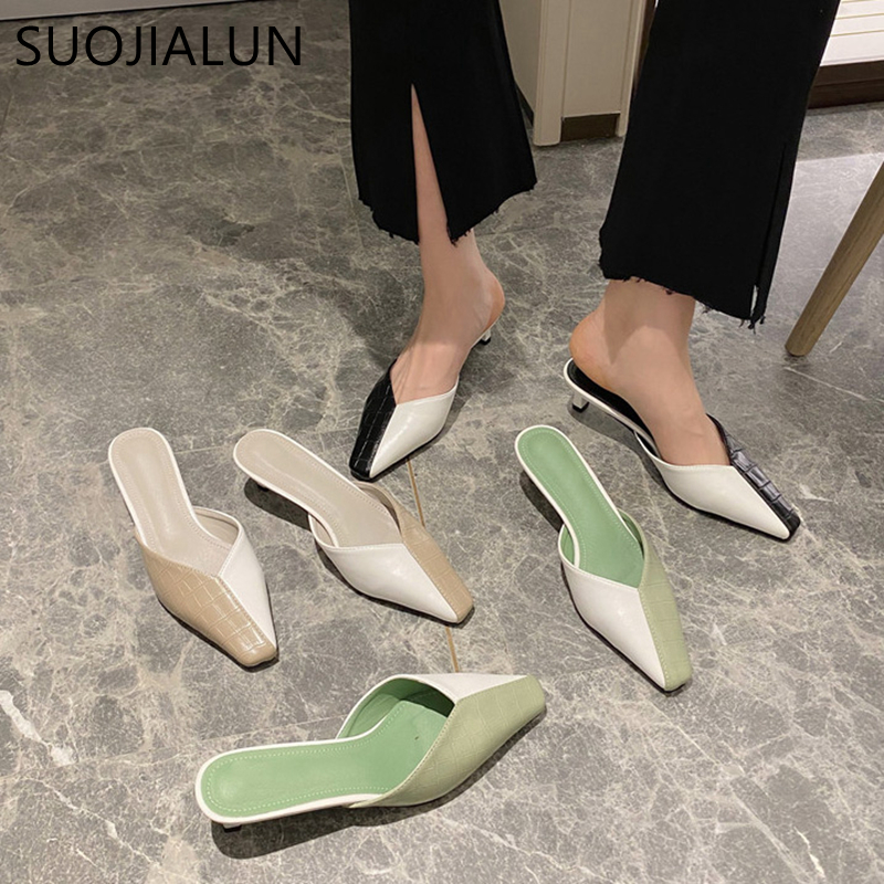 SUOJIALUN 2020 New Spring Mules Shoes Women Mix Color Low Heels Slipper Slip On Casual Shallow Mouth Outside Slide Shoes