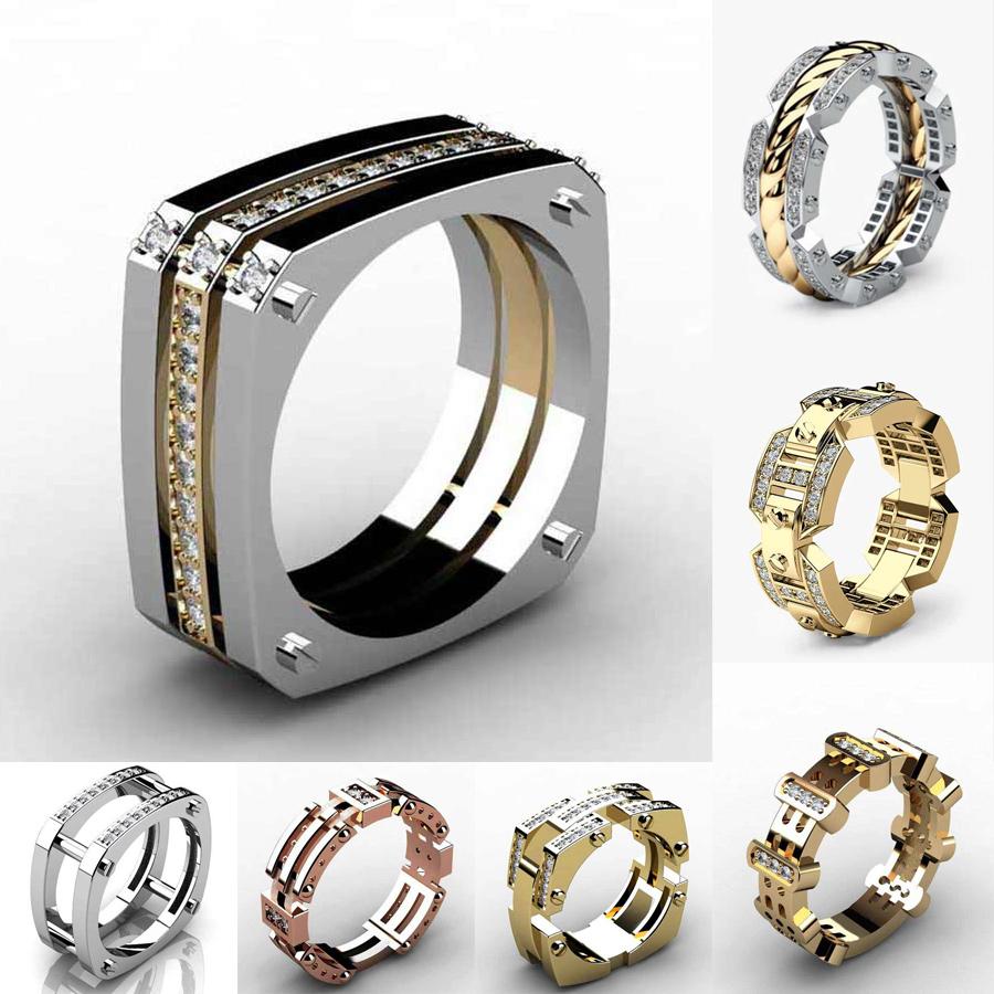 Huitan Punk Hiphop Series Mens Ring Band Cothic Geometry Men Ring Stone Trendy Gifts Gadget Ring For Gentleman