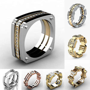Huitan Gadget-Ring Ring-Band Geometry Hiphop-Series Punk Cothic Trendy Mens Gifts