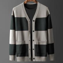 Outerwear Cardigan Sweater Striped Casual Men Plus-Size V-Neck Autumn MLXL2XL3XL4XL Youth