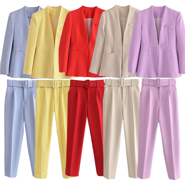 Za Women's Pants Suit Office Blazer Solid Jackets Elegant Coat Female 2 Piece Set 2021 Slim Outfit With Belt High Waist Trousers 3